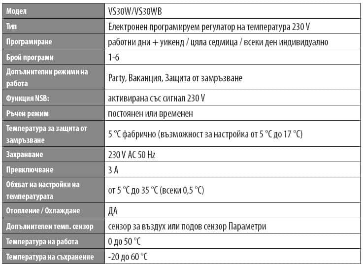 Стаен термостат Salus VS30