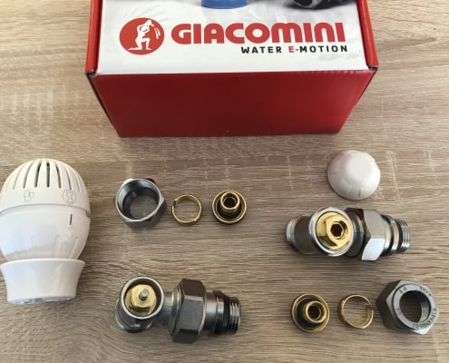 Термовентил GIACOMINI ъглов ф16 комплект