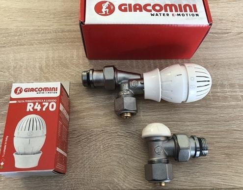 Термовентил аксиален + секретен кран + свръзки ф16 + Термоглава GIACOMINI